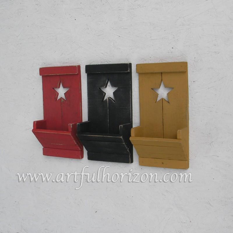 Farmhouse Country Chic Wood Star Wall Box Pocket Primitive
