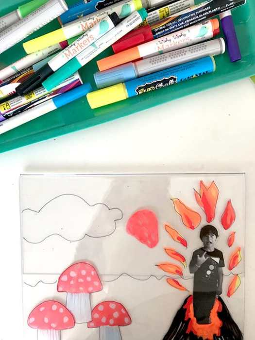 Creating mixed media art for kids on plexiglass