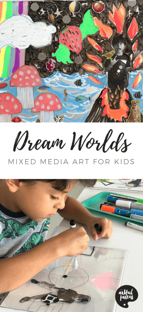 The perfect mixed media art for kids. Collage a photograph & paint an imaginary world on plexiglass in this creative self portrait project by Catalina Gutierrez of Redviolet Studio. #kidsart #artforkids #kidsactivities #artsandcrafts #paintingideas #kidspainting #drawing