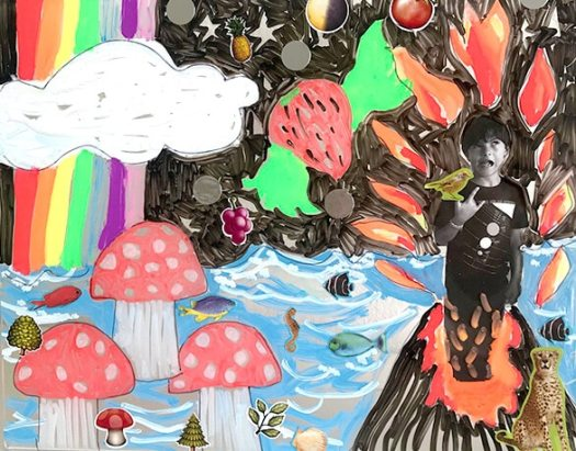 Dream worlds - mixed media art for kids