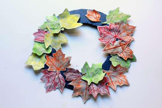 Fall Leaf Rubbings Wreath