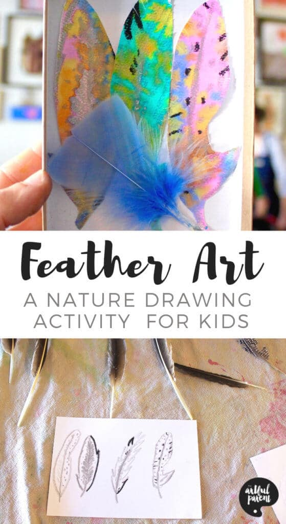 Feather Art in a Box - An Easy Nature Drawing Activity for Kids Pin