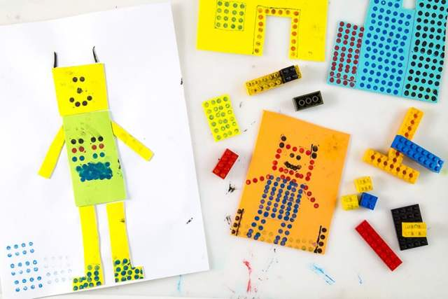 Create LEGO portraits with LEGOs & stamp pads