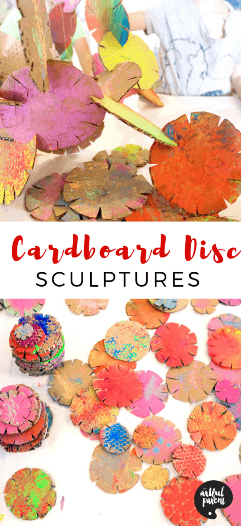 Cut out cardboard building discs and stack to make awesome recycled sculptures. An open-ended art activity that provides hours of fun for kids! #artsandcrafts #cardboard #recycledcraft #kidssculpture #kidsactivities