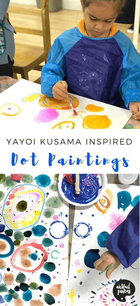 Create amazing and colorful dot paintings inspired by Japanese artist Yayoi Kusama. Project & post by Catalina Gutierrez of Redviolet Studio. #kidsart #artsandcrafts #kidspainting #paintingforkids #paintingideas #paintingtechniques #artforkids #preschoolers #drawing #drawingforkids
