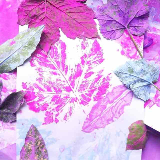 Create beautiful leaf prints in nature art ideas for kids