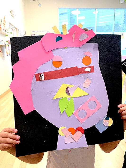 Cut paper shapes in various colors for Picasso collages project for kids