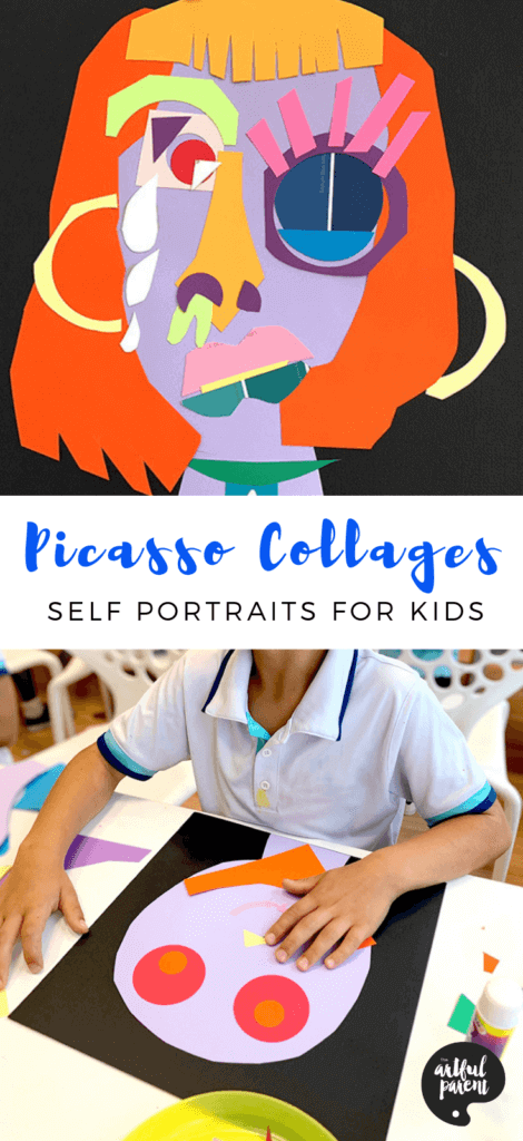 These colorful Picasso collages help kids explore identity as they create self portraits by cutting and assembling paper. #preschoolers #kidsactivities #kidsart #artsandcrafts #artforkids #picasso