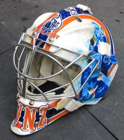 Tyler Bunz 2012-13 Mask: Left Side with Ranford. (Photo: Patricia Teter. All Rights Reserved.)