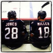 Jones and Miller on bench. (Photo: Patricia Teter. All Rights Reserved.)