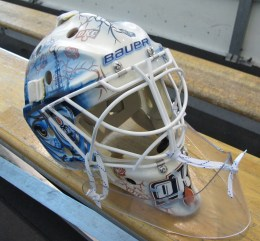 Tyler Bunz 2014-15 Mask by David Arrigo (Photo: Patricia Teter, All Rights Reserved)