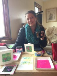 Relax with friends and make cards for the holidays.