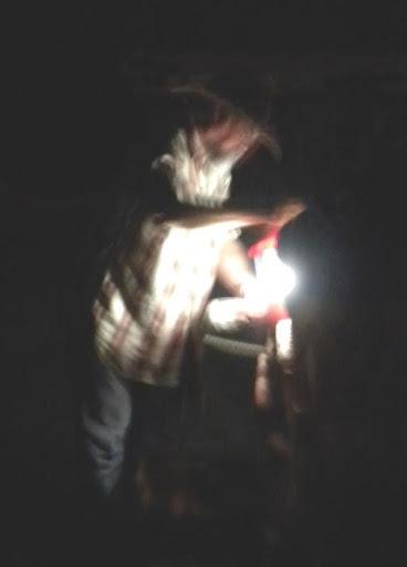 Rick Hunt, Firekeeper preparing to light fire.