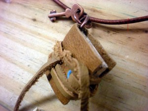 mini leather book necklace