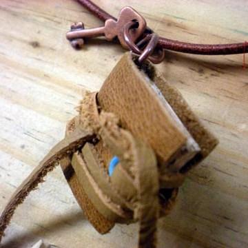 mini leather book necklace