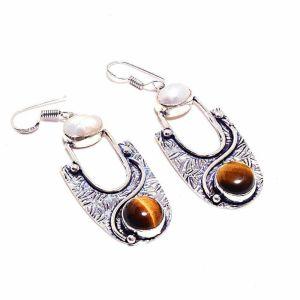 Tiger Eye and Biwa Pearl Earrings