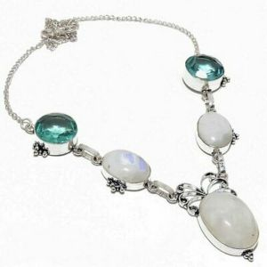 Necklace – Sterling Silver, Moonstone, Apatite