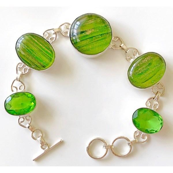 Dichroic Glass Silver Bracelet