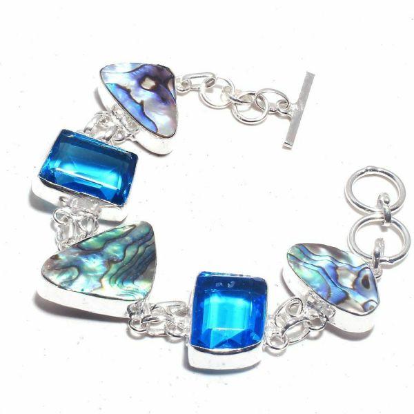 Silver Abalone Shell and Blue Topaz Bracelet