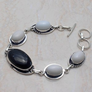 Obsidian and White Opal Silver Bracelet