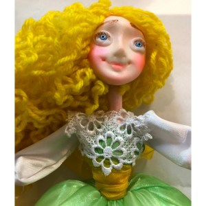 Collectible Doll – Green/White Dress