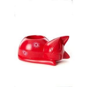 "Soapstone ""Cat"" Red Candle Holder"