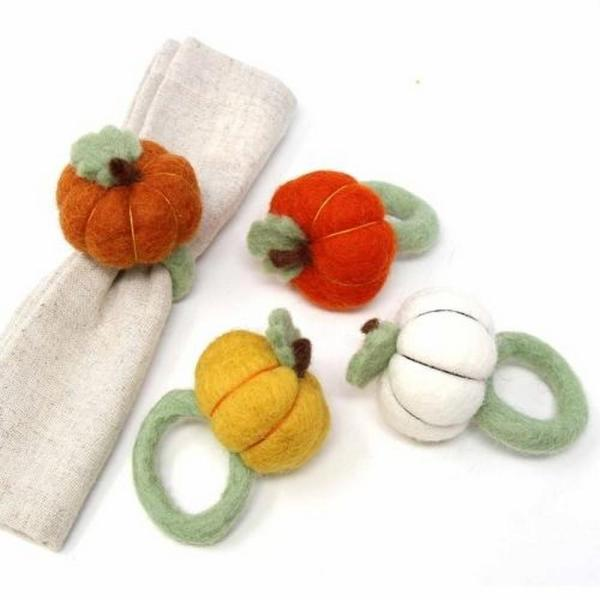 Set of 4 Pumpkin Felted Napkin Rings