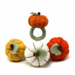 Set of 4 Pumpkin Felted Napkin Rings