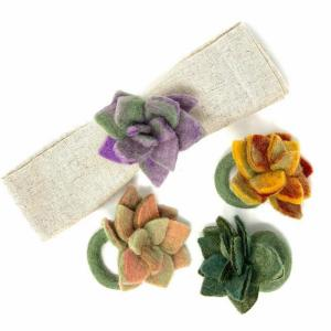 Set of 4 Succulent Felted Napkin Rings
