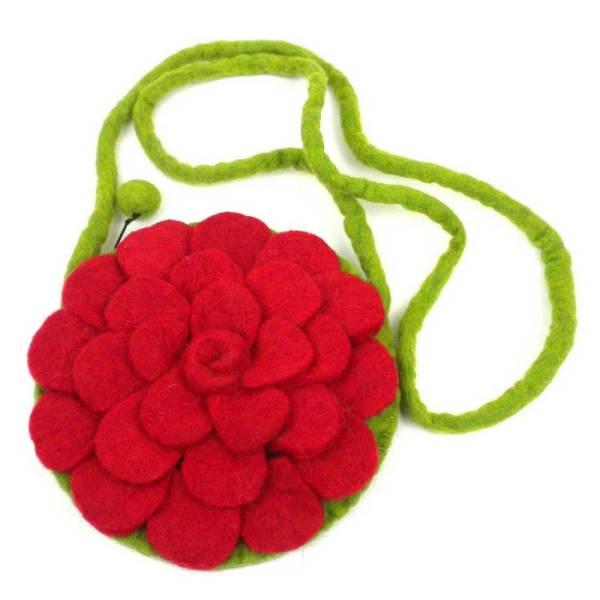 Felted Shoulder Bag - Red Rose
