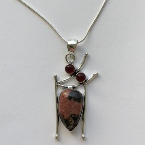 Pendant – Sterling Silver with Rhodonite and Garnet Stones