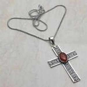 Pendant – Cross with Carnelian Stones