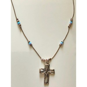 Pendant – Sterling Silver Cross with Opal Chain