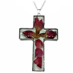 Pendant – Cross with Real Flower