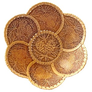 Birch Bark Decorative Plate – Tree Cones