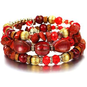 Multi layer Red Agate Crystals Bracelet