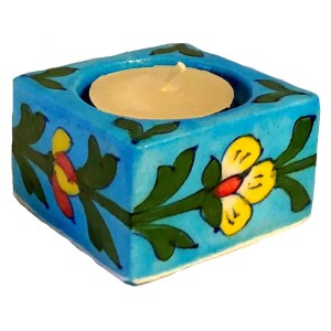Blue Pottery Tea Light Holder