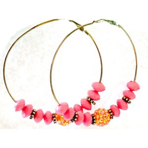 Pink and Yellow Hoop Earrings
