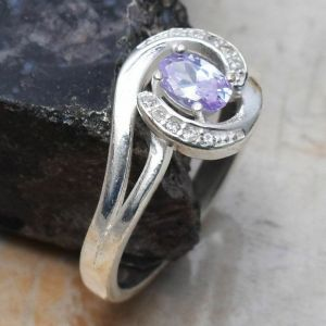 Ring – Sterling Silver with Amethyst and White Topaz