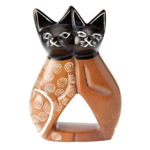 Soapstone Cuddling Cat Sculpture