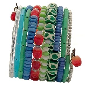 10 Turn Glass and Ceramic Beads Bracelet