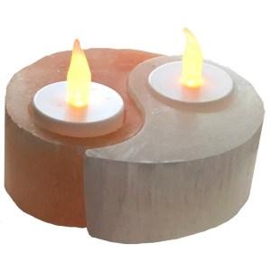 Yin Yang Selenite Tea Light Holder