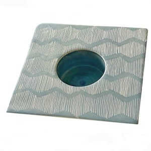 Soapstone Candle Holder – Blue Lines