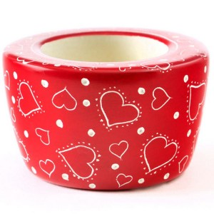 "Soapstone Candle Holder Red – ""Much Love"""