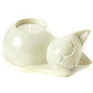 """Soapstone """"Cat"""" White Candle Holder"""