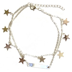 Silver Color Anklet with Stars