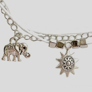 Silver Color Anklet with Elephant