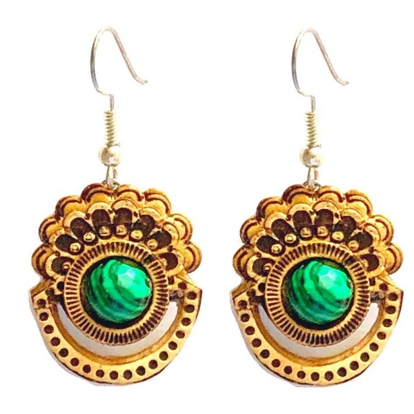 Earrings – Birch Bark with Malachite