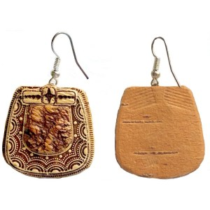 Earrings – Birch Bark with Delicate Inlay Decoration