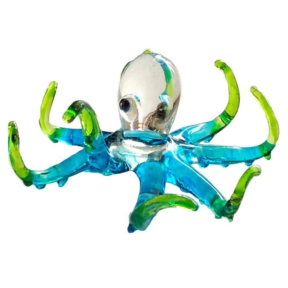Glass Blue and Green Octopus